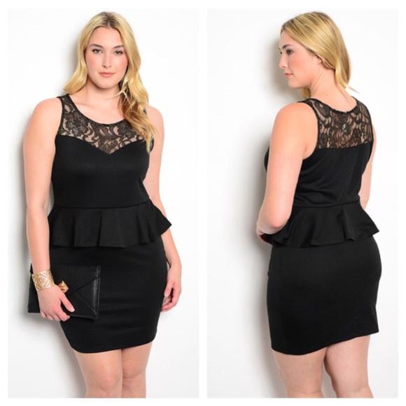 ✨FINAL price drop✨ Plus size black peplum dress NWT