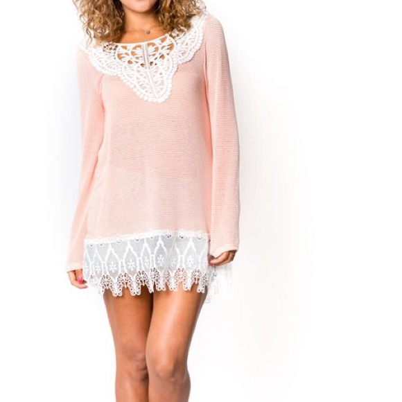 Off dresses skirts stunning sweater tunic w lace