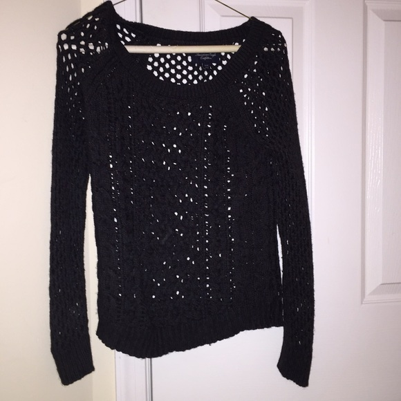 American Eagle Outfitters - Black sweater with holes from American ...
