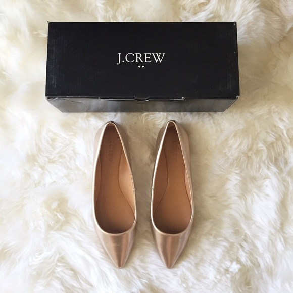 298ef6c27751 Jcrew rose gold pointed ballet flats 8