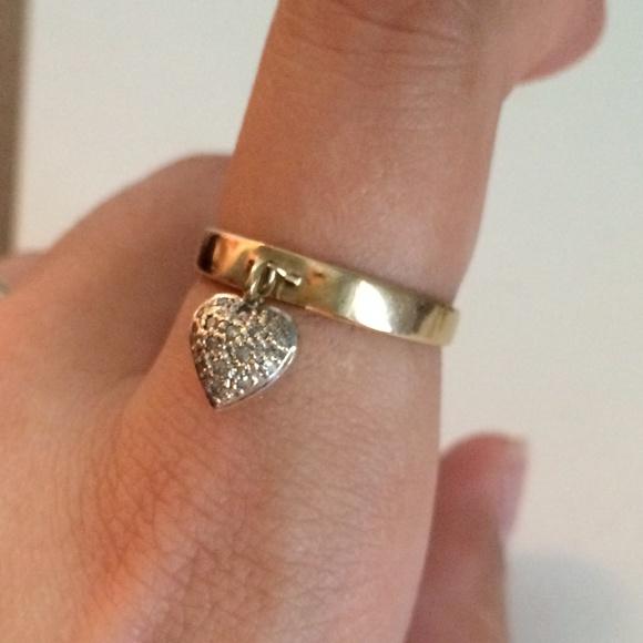Tiffany Amp Co Jewelry 10k Gold Dangle Heart Ring Poshmark