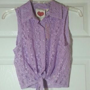 Purple Crochet Tie Front Top See through collared