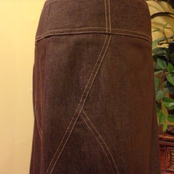 New York Clothing Co. - Dark brown maxi denim skirt NYCC from ...