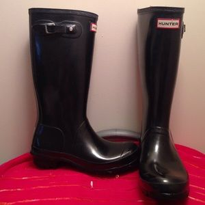 Hunter Tall Rain Boots Black Gloss