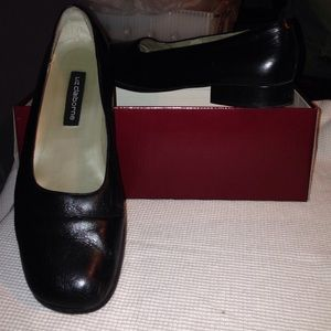 Classic black leather shoes