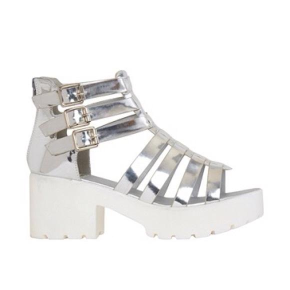 Pink Key Shoes - •Silver Gladiator Platform Shoes•