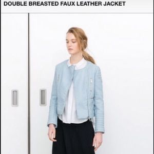 ZARA DOUBLE BREASTED FAUX LEATHER JACKET.