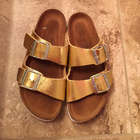 697b88a3409 Birkenstock Shoes - Rare limited edition gold Birkenstock sandals