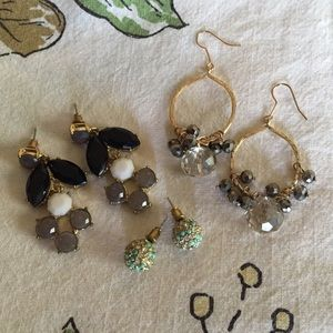 THREE PAIRS OF GOLD TONE STATEMENT EARRINGS