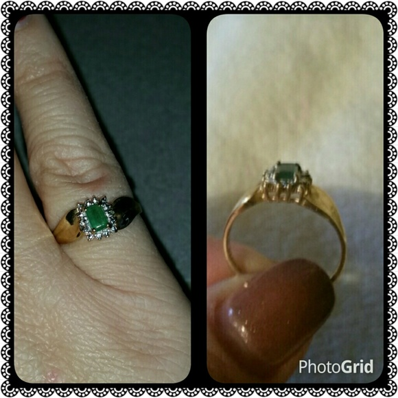 67 off kay jewelers jewelry gold emerald ring from kay. Black Bedroom Furniture Sets. Home Design Ideas