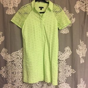 J. Crew Dresses & Skirts - J.Crew Neon Eyelet Shift Dress 0Petite