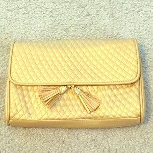 Adorable Gold Quilted Vintage Handbag Clutch