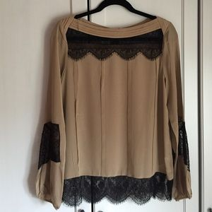 NWT Aryn K Mocha Black Lace Silk Blouse