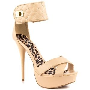 Qupid Shoes - Nude Ankle Strap Heels