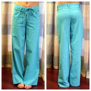 18% off Pants - Aqua linen pants with belt from Nadia's closet on ...