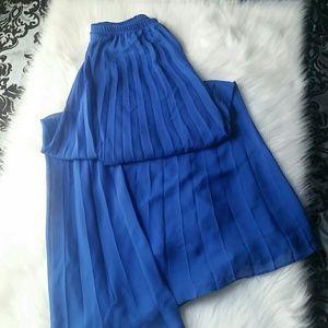 Long, Royal Blue Pleated Skirt