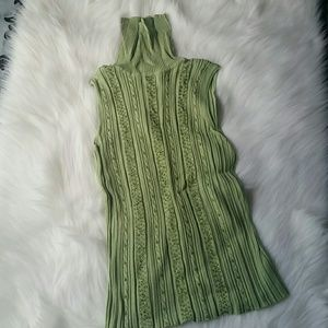 Tops - Beaded, Green Sleeveless Turtleneck