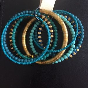 Gold and turquoise wrap bracelet