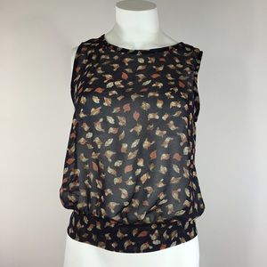Nordstrom Tops - Birds and Leaves Open Back Sleeveless Top with Bow