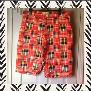 Kanjii jeans Other - 🎀RED PLAID PATCHWORK MENS SHORTS🎀NEVER WORN🎀