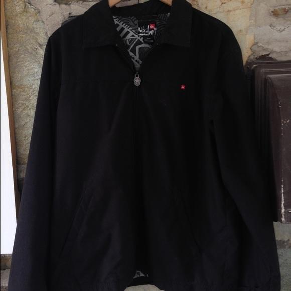 Quiksilver black zipper jacket- sz m/l