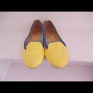 Yellow ballet loafer flats