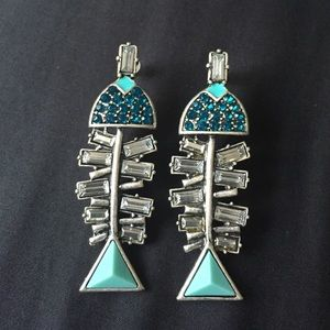 Fishbone crystal earrings