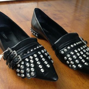 Zara Black Leather Tassel & Studded Oxfords