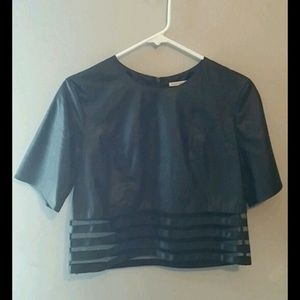 faux leather mesh crop top
