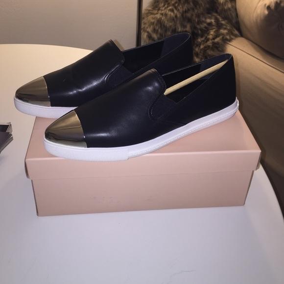 6d583498d0f06 Black boyfriend sneaker w/ silver toe NWT