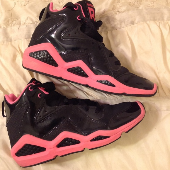 reebok hexalite. 🔴sold🔴black \u0026 pink reebok hexalite hi top shoes reebok hexalite