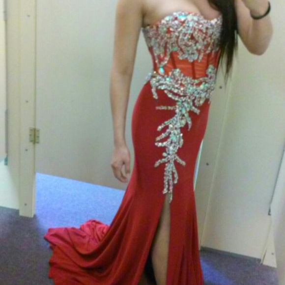 La Vida Dresses | Elegant Red Prom Dress With Gems | Poshmark