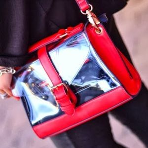 Accessorize Handbags - Vinyl Clear Red Navy Crossbody Bag