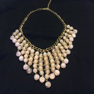 Soft marble pink necklace set on gold color chain