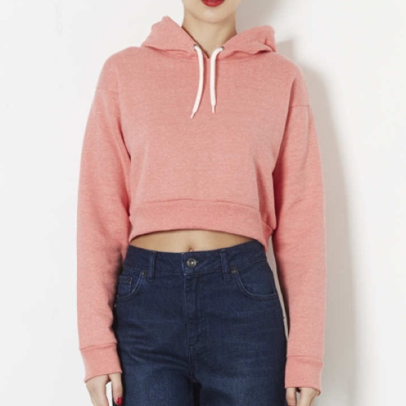 76% off Topshop Sweaters - Topshop pink cropped hoodie from ...