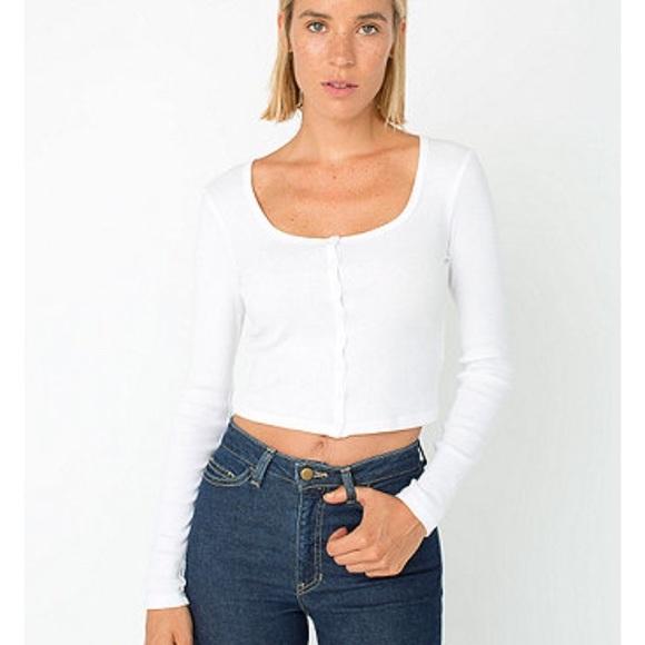 3d2ffdc88fd American Apparel Tops | 2x1 Rib Long Sleeve Button Crop Top White ...