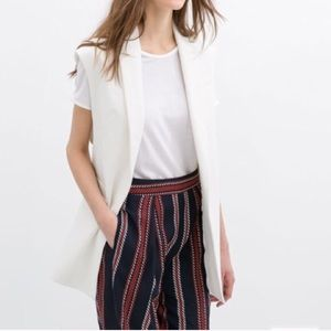 Zara Sleeveless Blazer in White