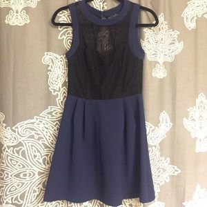 BCBGeneration Dresses & Skirts - Backless Lace Fit&Flare Navy &Blue dress
