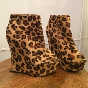 Shoes - Peep toe Leopard Booties.