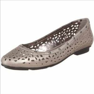 Calvin Klein Shoes - Calvin Klein Grey Cutout Leather Studded Flat NWOT