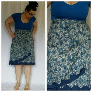 Vintage Floral Wrap Style Mad Men Skirt