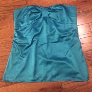 Blue silk LOFT top