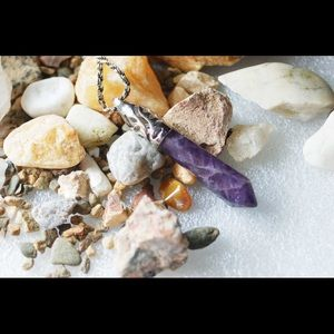 Natural Amethyst Statement Pendant 2 3/8""