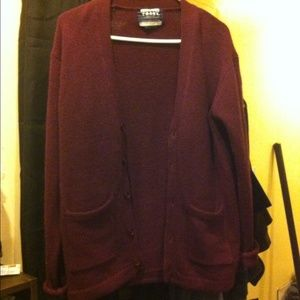 Sweaters - Burgandy oversized boyfriend cardigan