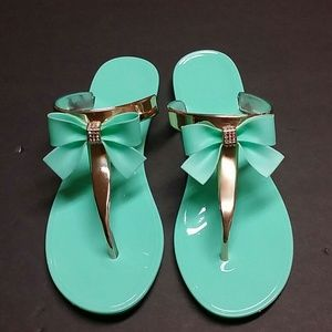 d9317ed4993bf Shoes - TIFFANY BLUE BLING BOW JELLY SANDALS