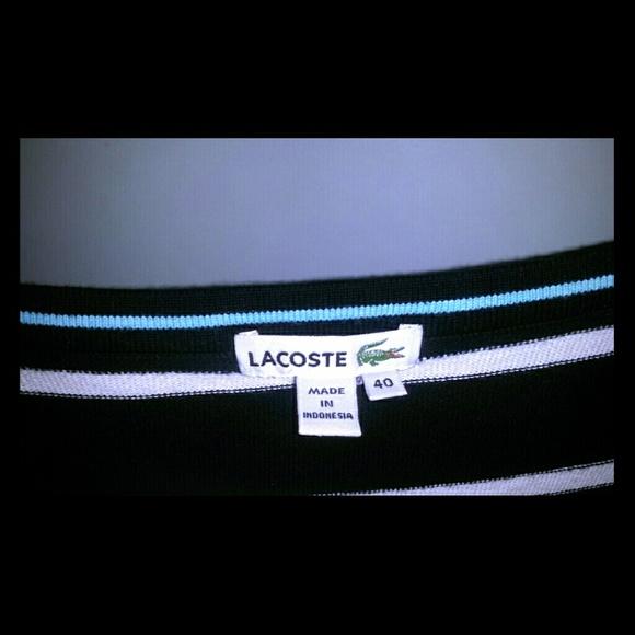 Lacoste Dresses & Skirts - LACOSTE dress black white shirt sleeve knee high