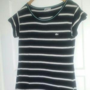 Lacoste Dresses - LACOSTE dress black white shirt sleeve knee high