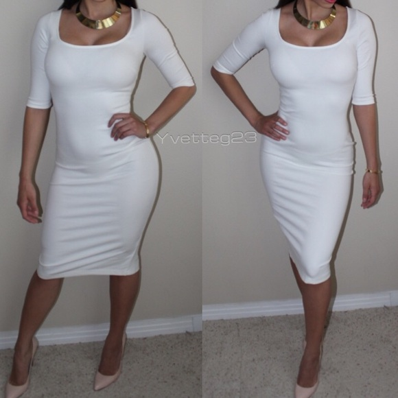 65c529c0f6 Boutique Dresses   Skirts - Sexy White midi 3 4 sleeve bodycon party dress