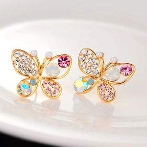 Butterfly Multi Colored Crystal Earrings 2/$10