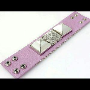 Juicy Couture leather stud bracelet violet purple